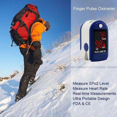 Finger Pulsoximeter & Herzfrequenzmesser mit Anleitung, Lanyard & Trittfest Fall, dunkelblau
