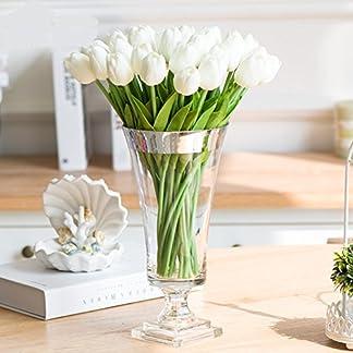 SHINE-CO Artificiales Tulipanes de Toque Realista PU 10Pcs Perfecto para la Boda Casa Oficina Fiestas