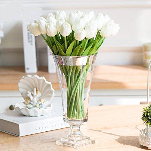 SHINE-CO Artificiales Tulipanes de Toque Realista PU 10Pcs Perfecto para la Boda Casa Oficina Fiestas (Blanco)