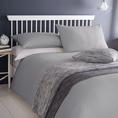 Serene Ashlea - Easy Care Waffle Weave Duvet Cover Set - Double, Grey