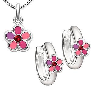 CLEVER SCHMUCK Set Silberne Creolen Blume rosa pink lila mit pinkfarbenen Zirkonia und passender Anhänger STERLING SILBER 925 mit Kette Venezia 42 cm