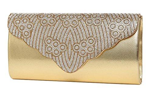 Frauen-Handtasche-Schulter-Abend-Handtaschen-Einkaufstasche gold 3