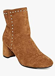 Flat n heels Womens Tan Heeled Boots