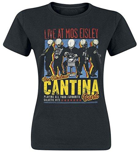 Star Wars - T-shirt da donna con motivo della Cantina Band - Stampa su fronte e retro - Nero - L