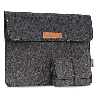 MoKo Surface Book 13.5 Zoll Filz Sleeve Hülle - Ultrabook Laptoptasche Notebooktasche Laptop Schutzhülle Tasche Laptophülle mit Karten-Slot/Kleine Filz Bag für Surface Book 13.5 Zoll, Dunkelgrau