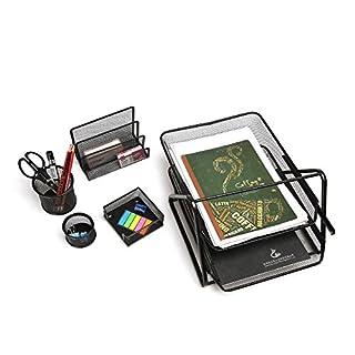 Schreibtisch-Set Office 5-teilig, Drahtmetall, schwarz, CLy-9604