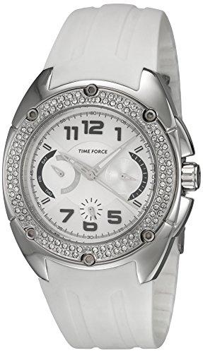 Time Force tf3133l02–Montre pour femmes, bracelet en caoutchouc blanc