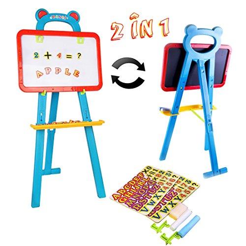 deao Kinder Staffelei Schnelle Flip 2in1doppelseitig Boards Tafel und magnetische Whiteboard Set inkl. Kreide und 84Magnete
