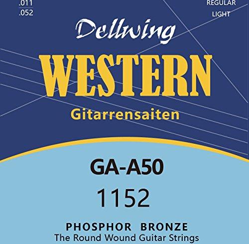 Dellwing Gitarrensaiten für Westerngitarre - Premium Stahl Phosphor Bronze Saiten für Western-Gitarre und Akustik-Gitarre - 6 Saiten-Set - TOP-Klang - Saiten