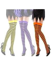 Strumpfhose Strümpfe Überkniestrümpfe 70 Damen orange schwarz Schlagerparty
