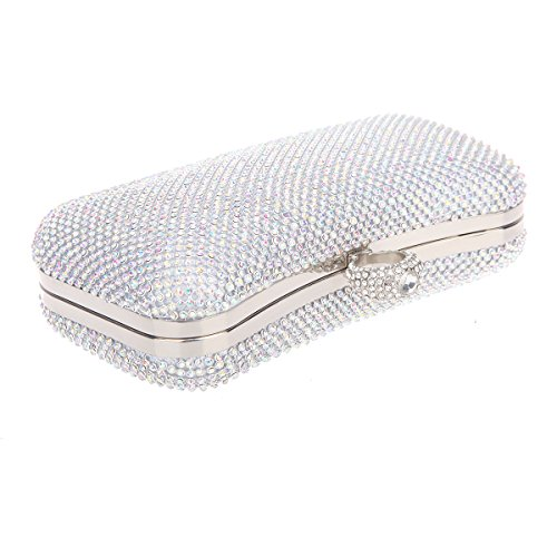 Bonjanvye Knuckle Clutch Bags with Studded Rhinestone Bag for Girls Silver AB Silver