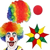 Multicolor Clown Hair Wig + Foam Nose + Collar | Colorful Fancy Joker Wig | Holi Wig | IPL Wig | Malenga Wig | CURLY AFRO WIG | Halloween Festival Costume Prank | ARTY CLOWN FUNKY DISCO MENS LADIES 70S FANCY DRESS | Halloween Costume
