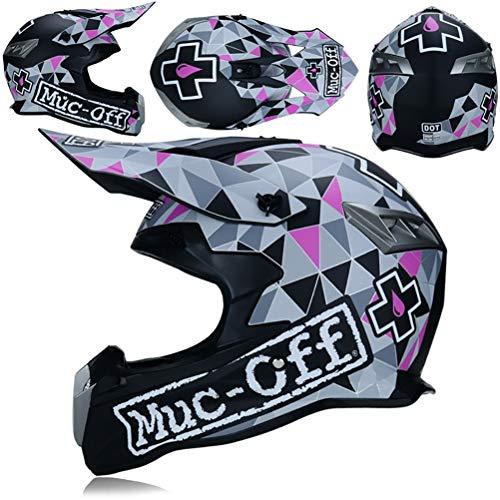 Mttkttbd casco da motocross set con guanti occhiali maschera cascos cross casco integrale moto per donna uomo