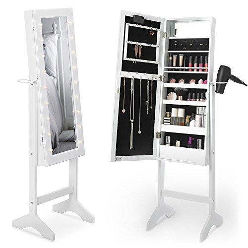 Beautify Espejo Joyas - Lacado Blanco Gabinete Joyeria Espejo Armario De Pie con Espejo y Luces LED