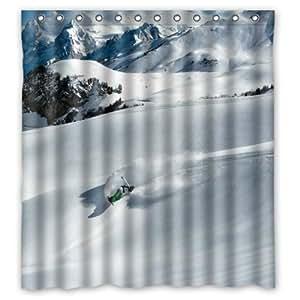 Amazing Man Ski Snow Mountain sur le Magnifique rideau de douche avec anneaux inclus (168 x 183 Nouvelle cm Rideau de douche en tissu de Polyester imperméable