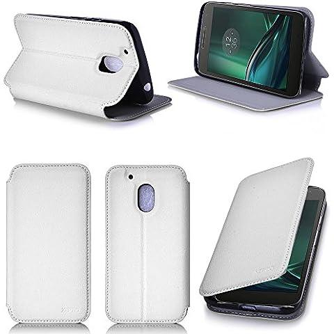 Blanco Cuero Funda Folio Carcasa para Lenovo Motorola Moto G 4 PLAY Generación 2016 Dual Sim Piel Case Cover con Soporte - Flip cover caso para Moto G4 PLAY 5 pulgadas (PU Cuero - Accesorios XEPTIO case