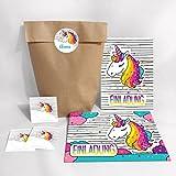 10-er Set Einladungskarten, Umschläge, Tüten, Aufkleber Kindergeburtstag Mädchen Einhorn / Unicorn / Geburtstagseinladungen (10 Karten + 10 Umschläge + 10 Party-Tüten/Kreuzbodenbeutel + 10 Aufkleber)