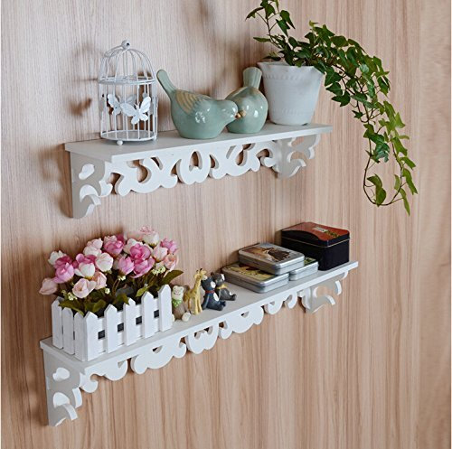 fineway @ Set di 2 ripiani bianco stile Shabby Chic filigrana Cut Out Design Mensola da parete Casa