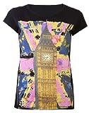 Damen Tops Damen T-Shirt mit Londoner Big Ben, Glitzer-Schmetterling-Design, Union Jack, Neon Top schwarz, Schwarz - Schwarz, 44