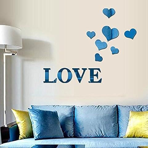 LOVE Spiegel Aufkleber DIY Home Art Dekoration Wohnzimmer Schlafzimmer Selbstklebende abnehmbare Acryl , blue