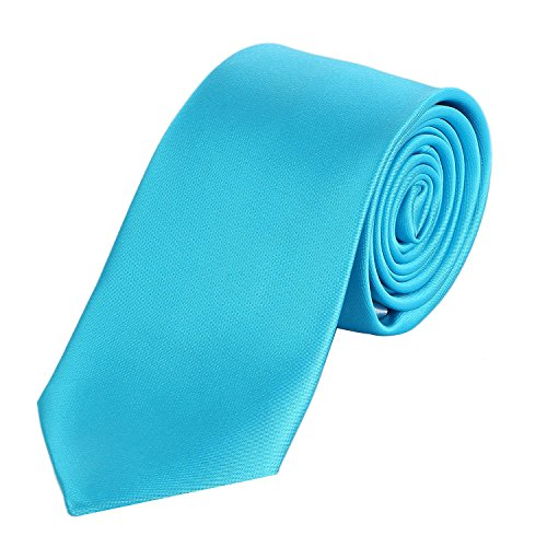 DonDon Herren Krawatte 7 cm klassische handgefertigte Business Krawatte Türkis für Büro oder festliche Veranstaltungen