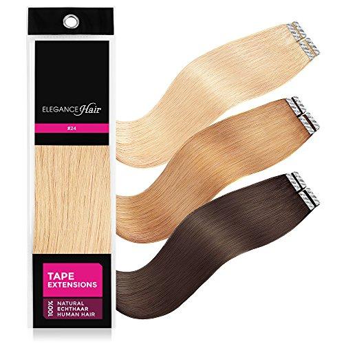 ELEGANCE-HAIR® Tape Extensions 8x 2,5g aus 100% Echthaar Haarverlängerung mit Klebeband 50cm Glatt #24 - Pin Up Blonde - Hell-Blond
