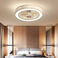 ALUOAGE Ceiling Fan with Lights, Invisible Acrylic Blade Metal Shell Ceiling Light Fan, Remote Control 3 Color change LED Lighting Fan