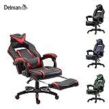 Delman XXL Racing Bürostuhl Schreibtischstuhl Gaming Chair Drehstuhl Höhenverstellbar mit Fußstütze Fußablage mit Armlehnen Chefsessel Große Sitzfläche dicke Polsterung 11cm 02-0019 (Schwarz-Rot)