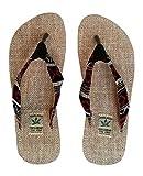 Troll n' Roll Handgemachte Flip Flops/Hausschuhe/ Sandalen/Zehentrenner mit Fußbett aus natürlichem Hanf - Unisex - Made IN Nepal (47, Red Night)