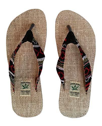 Handgemachte Flip Flops/Hausschuhe/Sandalen/Zehentrenner mit Fußbett aus natürlichem Hanf - Unisex - Made IN Nepal (43, Red Night)