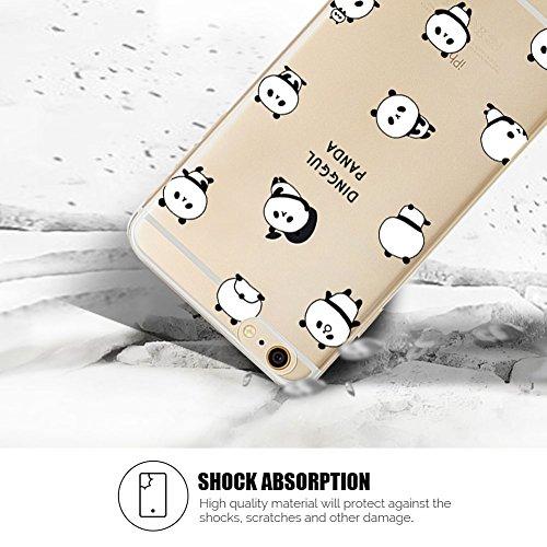 Cover iPhone 6 Plus Spiritsun Case iPhone 6S Plus Custodia Silicone Ultraslim Soft TPU Case Cristallo limpido Trasparente Cover Cartoon Kawaii Souple Flessibile Phone Protezione Case Per iPhone 6S Plu Panda 1