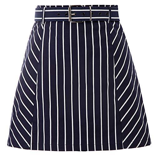 Frauen Vintage Bottoms Navy Stil Streifen A-Linie Swing Röcke Navy Blue 62 S -
