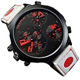 XXL Herrenuhr Triple Timer Schwarz Rot Weiss Retro Mega Retro Design UBoot, XXL Uhr jb-539