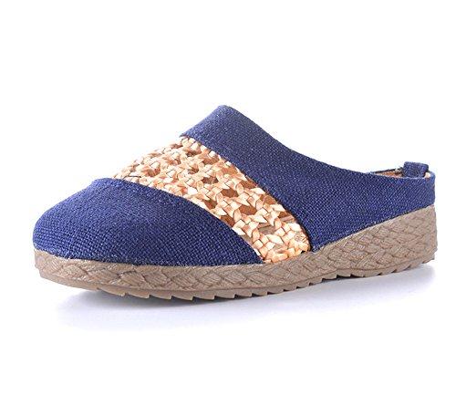 Unisex Slip On Slipper Wohnungen Feuchtigkeitstransport Flachs Sandale Gummi Sohle Pantoletten Innen-Schuhe, blue-women (Ruby Slipper Schuhe)