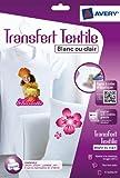 AVERY - C9405-8 - 8 transferts pour textiles blancs ou clairs. A4. Impression jet d'encre