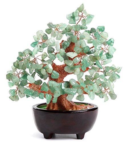15,2 cm feng shui avventurina gem stone money tree natural green crystal money tree ufficio soggiorno good luck decorazione (style d)