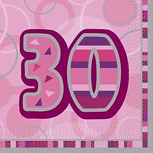 Unique Party- Paquete de 16 servilletas de Papel cumpleaños, Color rosa, edad 30 (28440)
