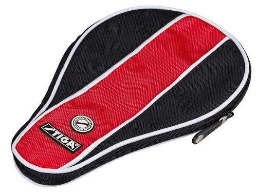 Custodia Stiga racchetta Stripe palla ovale con scomparto, Nero/Rosso + 1confezione 3* Palline