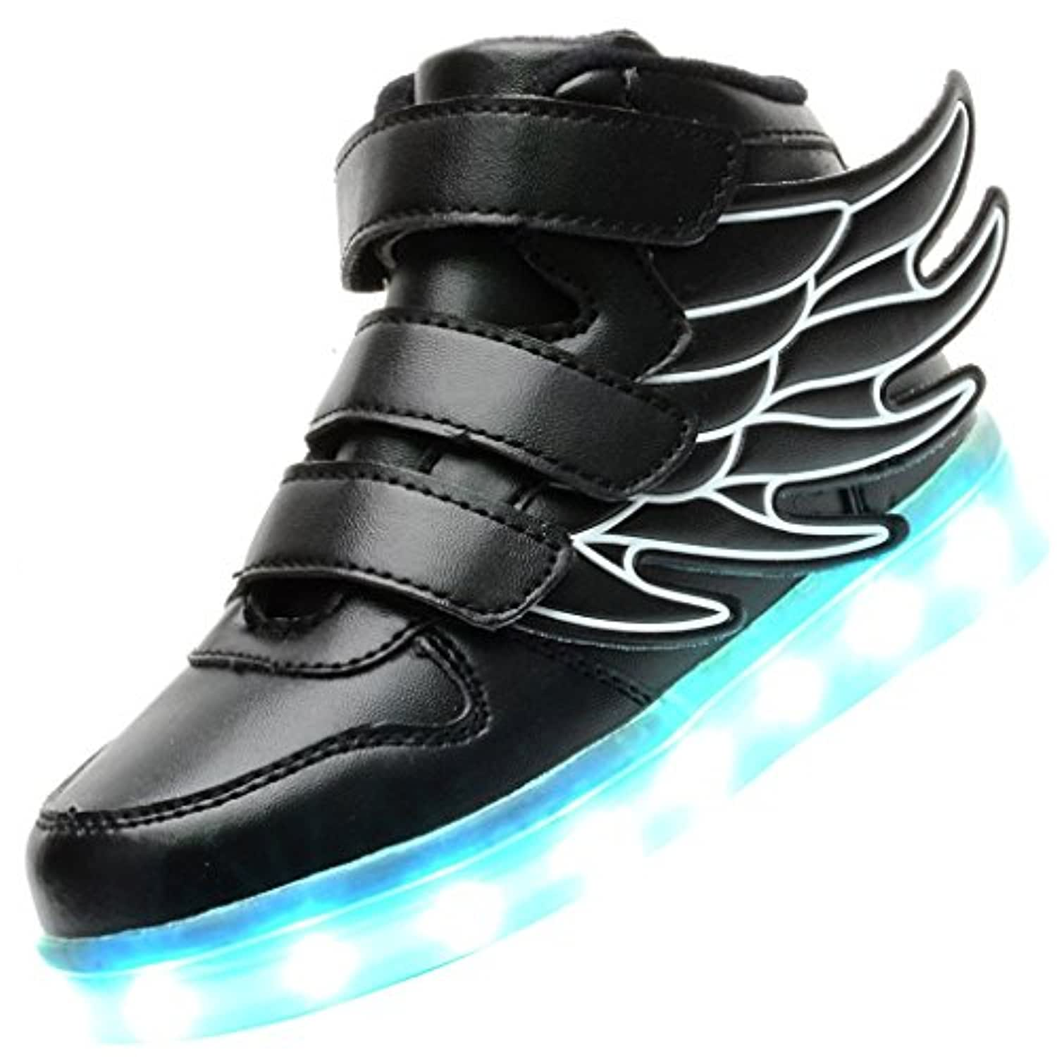 Odema Kid Boy Girl USB Charging LED Light Sport Athletic Wings Shoes Flashing Sneakers