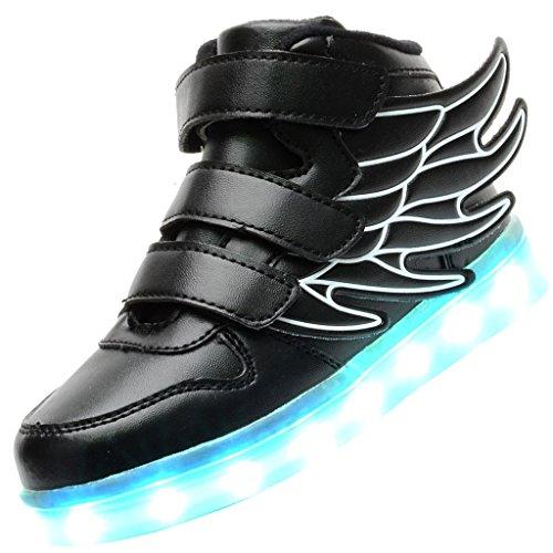 Odema-Zapatos-de-luz-LED-de-cana-alta-con-alas-unisex-para-nino