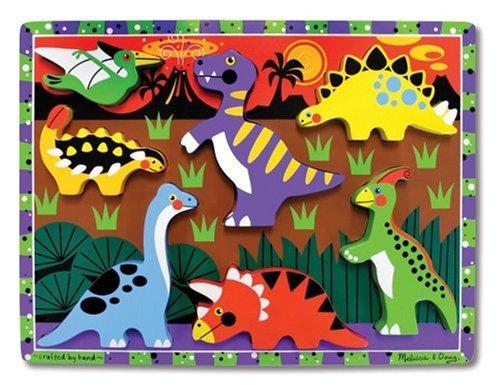 Melissa & Doug - Dinosaurios, rompecabezas grande de madera (13747)
