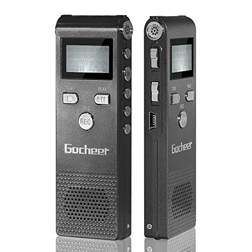 Gocheer 8gb mini monodeal registratore vocale portatile digitale professionale ricaricabile with MP3