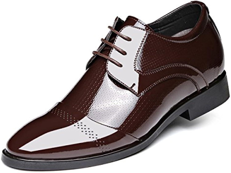 LYZGF Hombres Caballeros Negocios Casual Moda Ropa Formal Puntiagudas Encajes Zapatos De Cuero,Brown-38  -