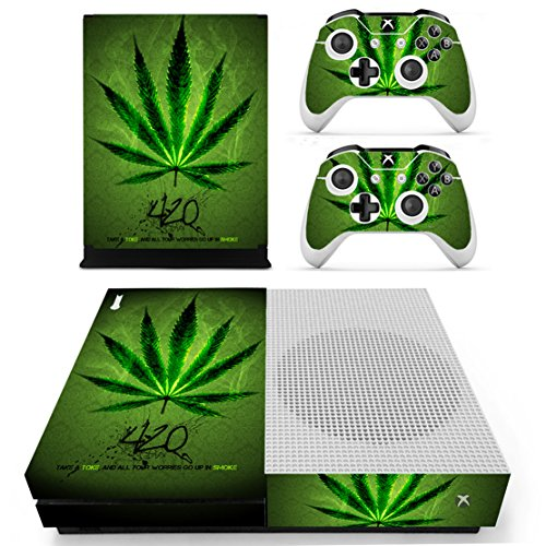 dotbuy Xbox One S selbstklebend Konsole Decal Vinyl Skin Sticker + 2selbstklebend Controller + 1selbstklebend Kinect Set grün Green Leaf (Kinect Für Zumba)