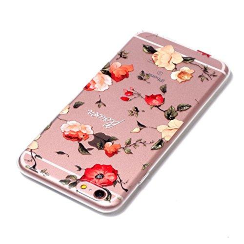 Fodlon® Rosen Transparent Weich Hülle für Apple iphone 6 plus/6s plus Rosen