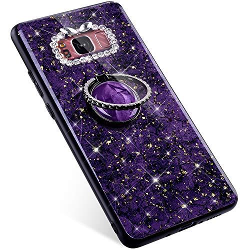 Uposao Kompatibel mit Samsung Galaxy S8 Plus Hülle Tasche mit 360 Grad Ständer Handy Halter Finger Ring Bling Glänzend Glitzer Strass Diamant Handyhülle Schutzhülle TPU Silikon Hülle Case,Lila