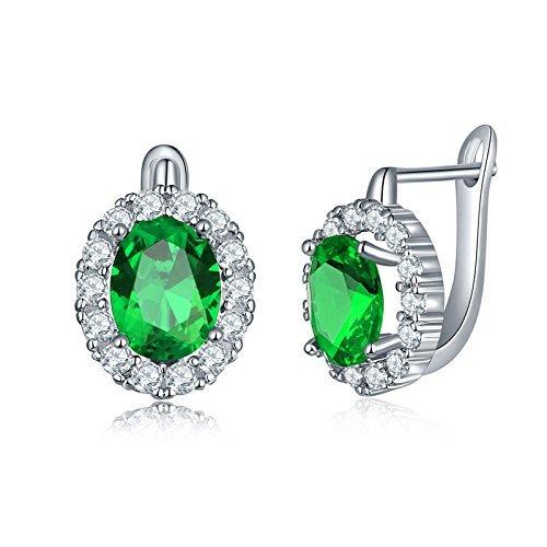 YAZILIND Schmuck platiniert Ohr Schnalle Mode Zircon hypoallergen Creolen Frauen Ideal Geschenk (grün) (Platin Creolen Für Frauen)