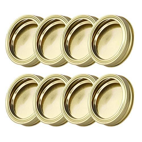 Agoky 8er Set 70mm Edelstahl Ersatzdeckel Schraubverschluss für Sturzgläser, Marmeladengläser, Einmachgläser, Wide Mouth Mason Jars Canning Jars Gold One Size