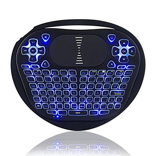 Kabellose Mini Tastatur, Jelly Comb 2.4G Wireless Herz Keyboard mit Touchpad QWERTZ Deutsches Layout Tragbare Wiederaufladbare Beleuchtete Tastatur für Smart TV, TV Box, PC, Tablet und Handy, Schwarz