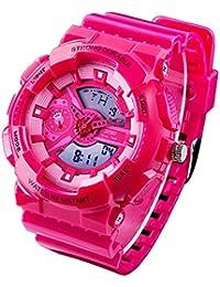 redmid Unisex deporte reloj analógico/digital resistente al agua multifunción LED reloj de pulsera rosa